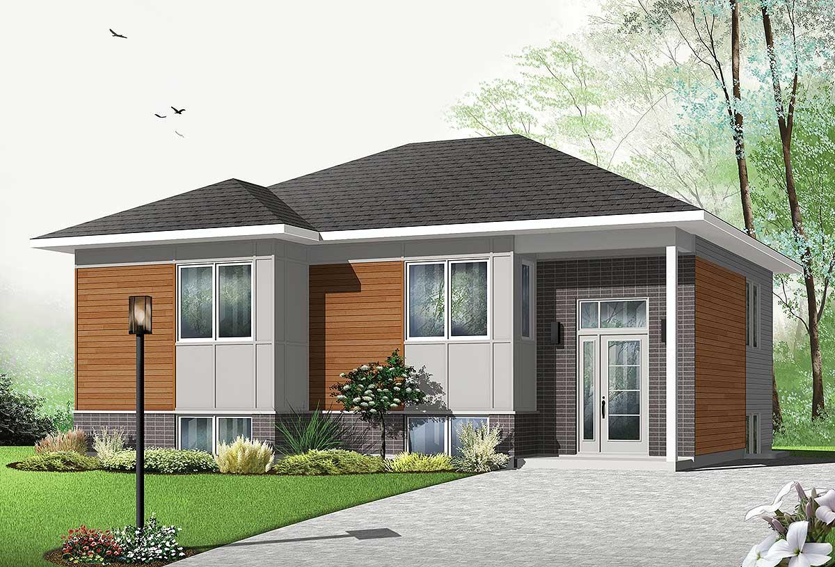 Contemporary split level house plan 22426dr - Modern split level house plans designs ...