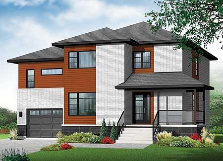 4 bed contemporary split level home plan 22361dr - Modern split level house plans designs ...