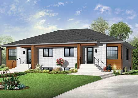 Contemporary Duplex House Plan 22369DR Architectural Designs