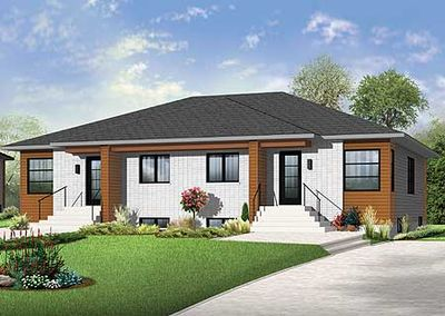 contemporary duplex house plan 22369dr thumb 01