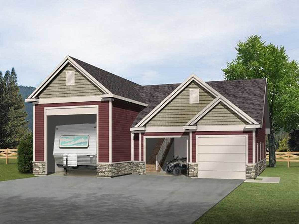 Rv garage with loft 2237sl cad available pdf for Large garage plans