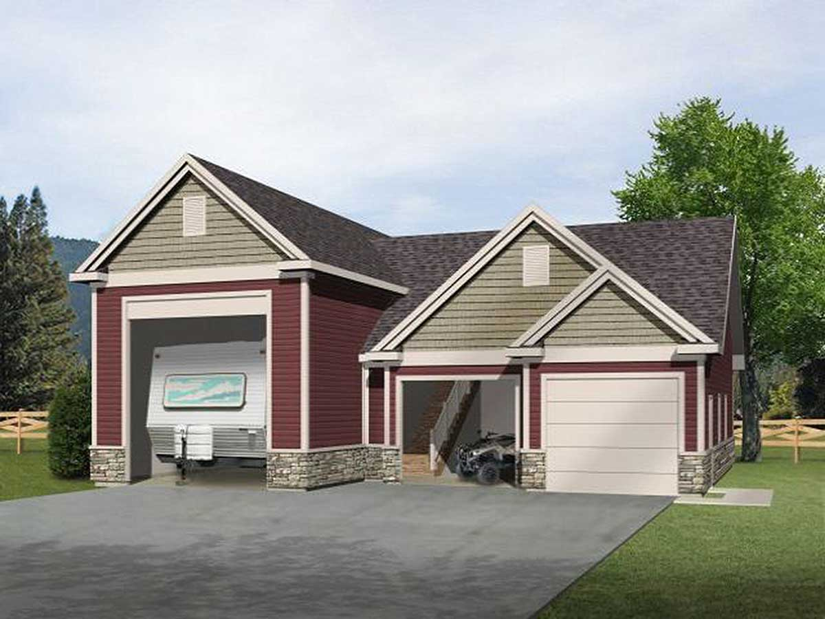 Rv garage with loft 2237sl cad available pdf for Garage plans with storage