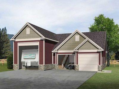 Rv garage with loft 2237sl architectural designs for Rv with car garage