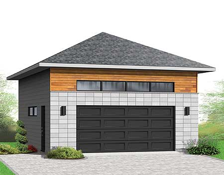 Detached 2 car garagewith hip roof 22372dr for Hip roof garage plans