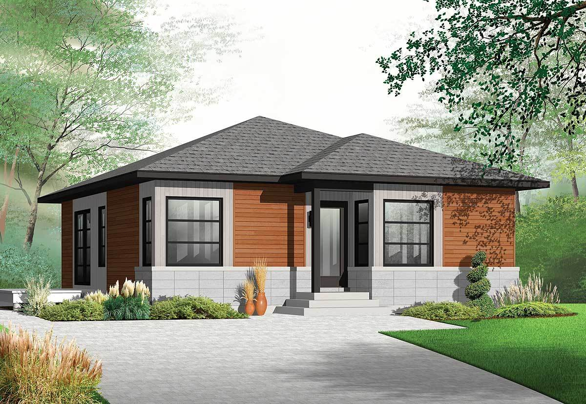 Contemporary Ranch House Plan - 22376DR | Architectural ...