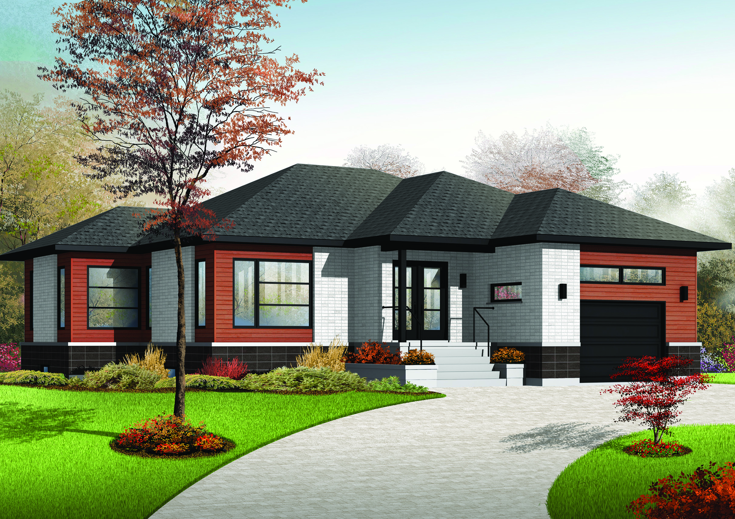 Comfortable contemporary ranch home plan 22384dr for Modern ranch plans