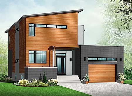 Contemporary House Plan With Sunken Foyer 22392dr 2nd