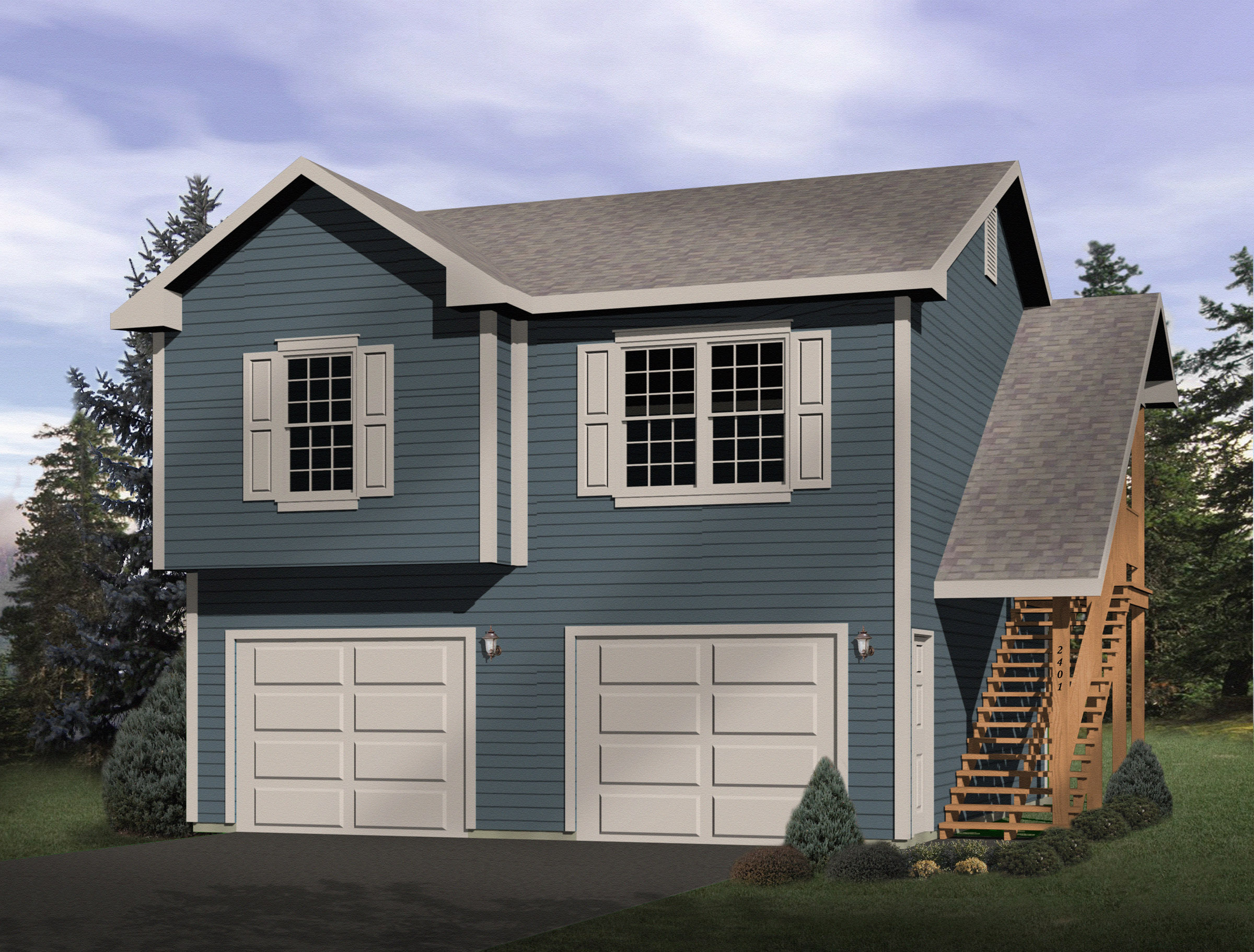 2 car garage apartment 2241sl 2nd floor master suite for Double garage apartment plans
