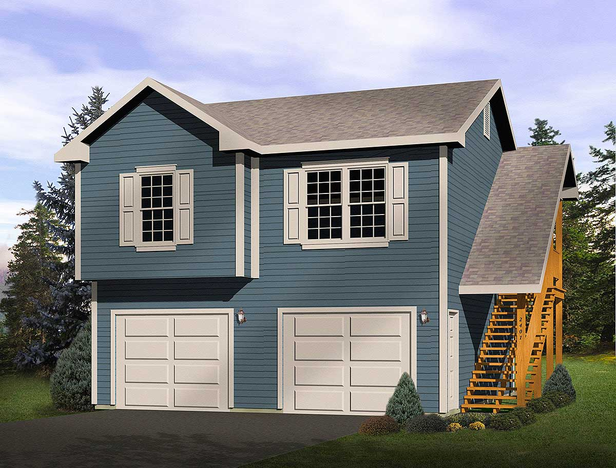 2 car garage apartment 2241sl architectural designs for Two bedroom garage apartment plans