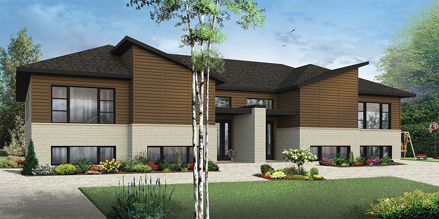 Contemporary duplex 22410dr architectural designs for Family home plans canada