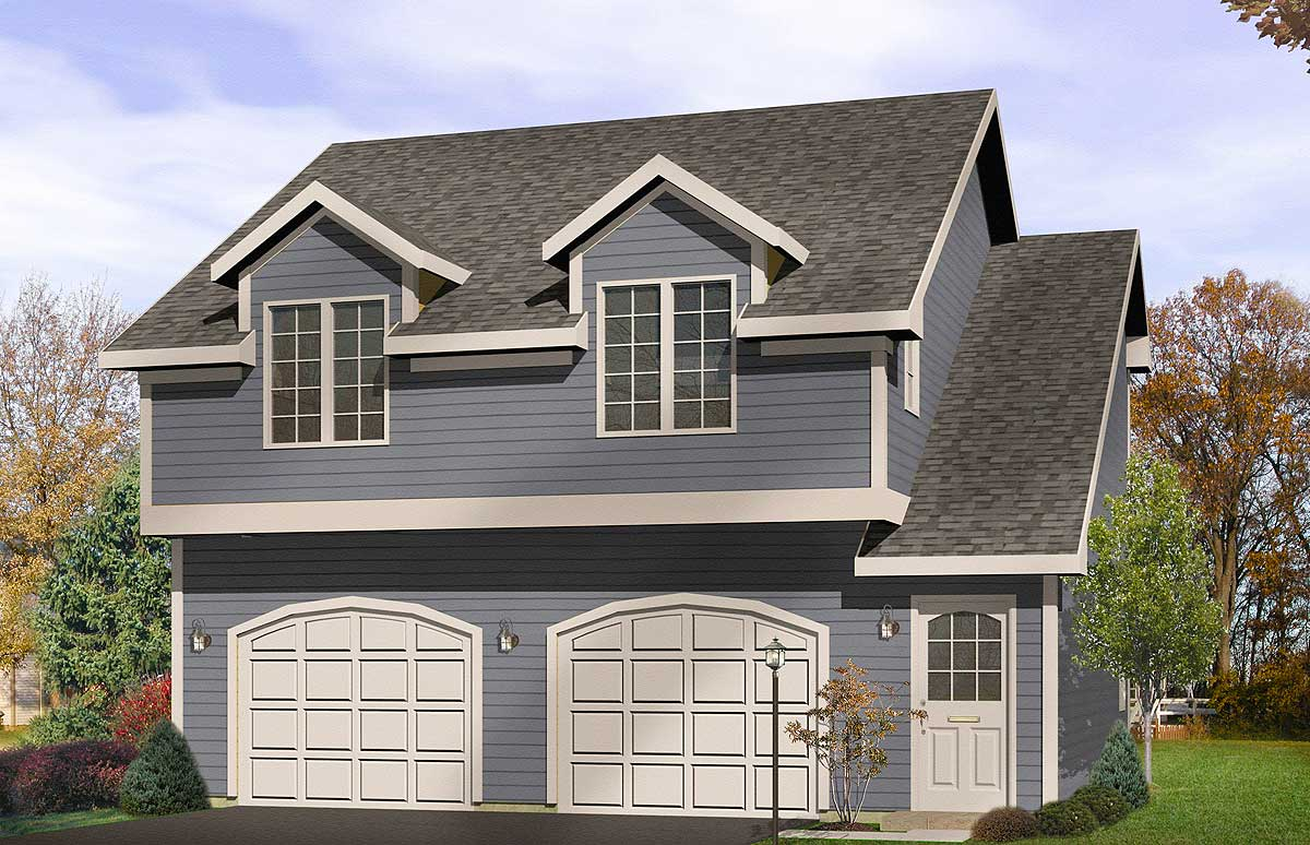 Two car garage apartment 2242sl architectural designs for Two car garage plans free