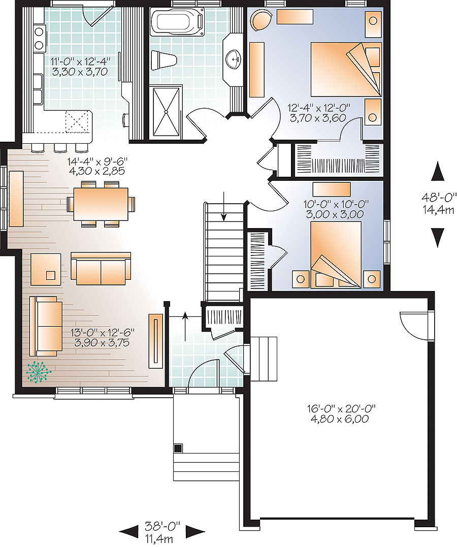 Inspiration House Plans Bungalow Open Concept: Two Bedroom Open Concept - 22422DR