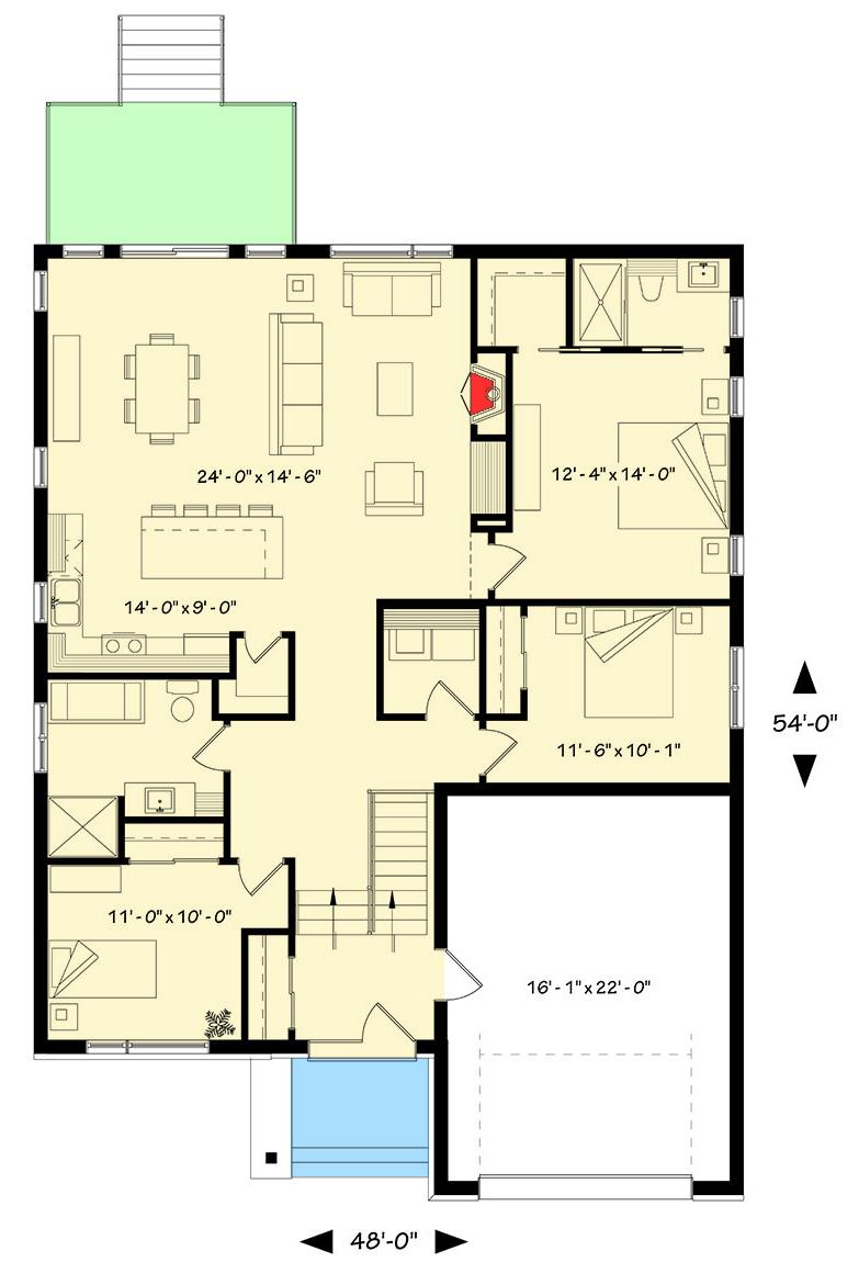 Contemporary split level house plan 22425dr - Modern split level house plans designs ...