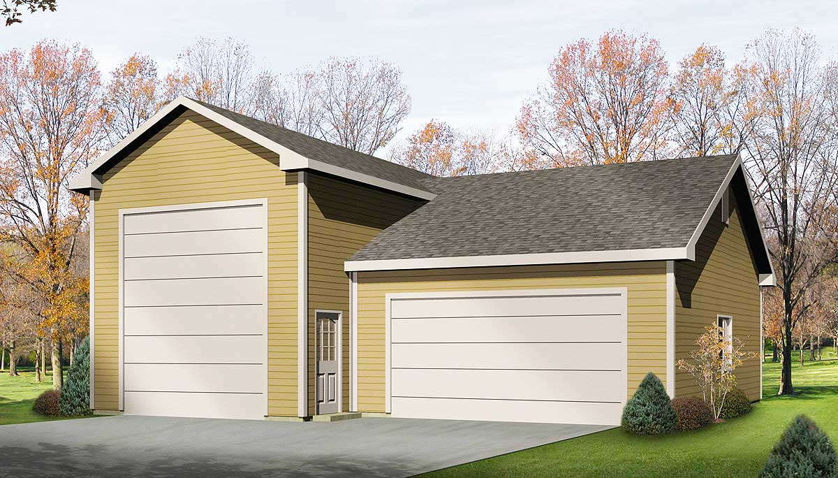 Rv garage plan 2263sl architectural designs house plans for Rv garage plans with workshop
