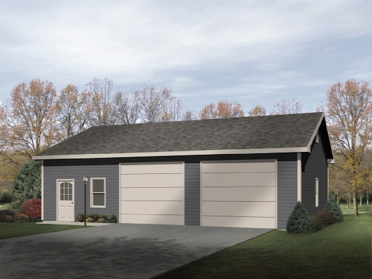 Two car garage with workshop 2283sl architectural for 2 bay garage plans