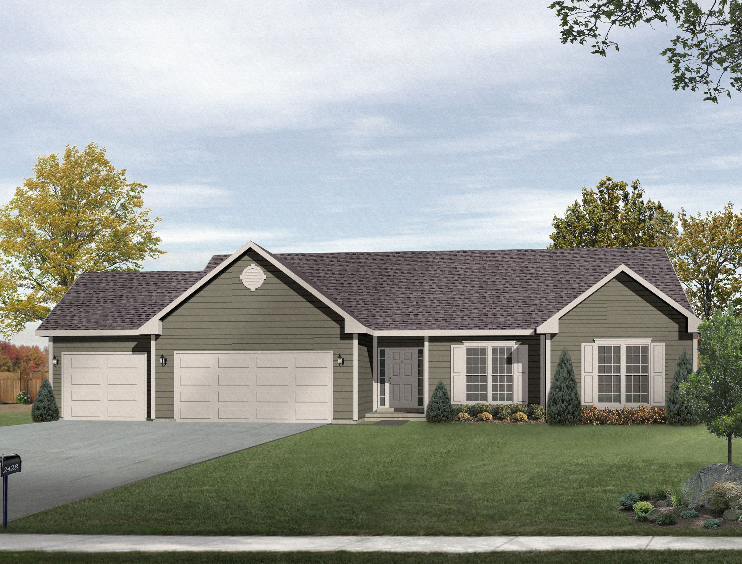 Ranch living with three car garage 2292sl for Ranch floor plans with 3 car garage