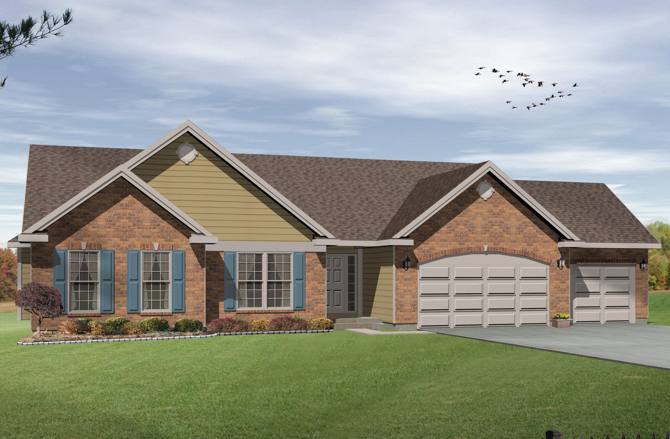 Ranch living with three car garage 2293sl for House plans ranch 3 car garage