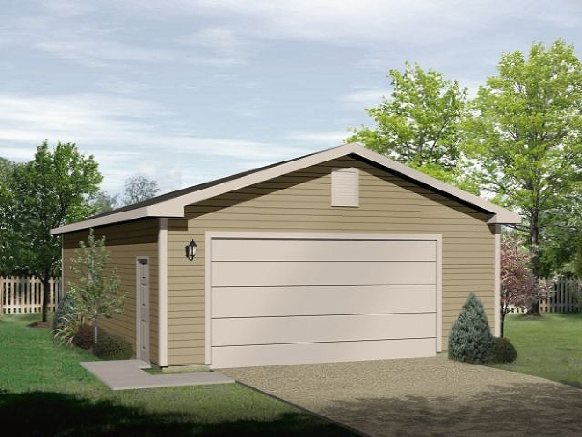 Simple classic two car garage 2299sl architectural for Garage architectural plans