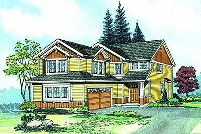 northwest house plan for narrow corner lot - 2300jd