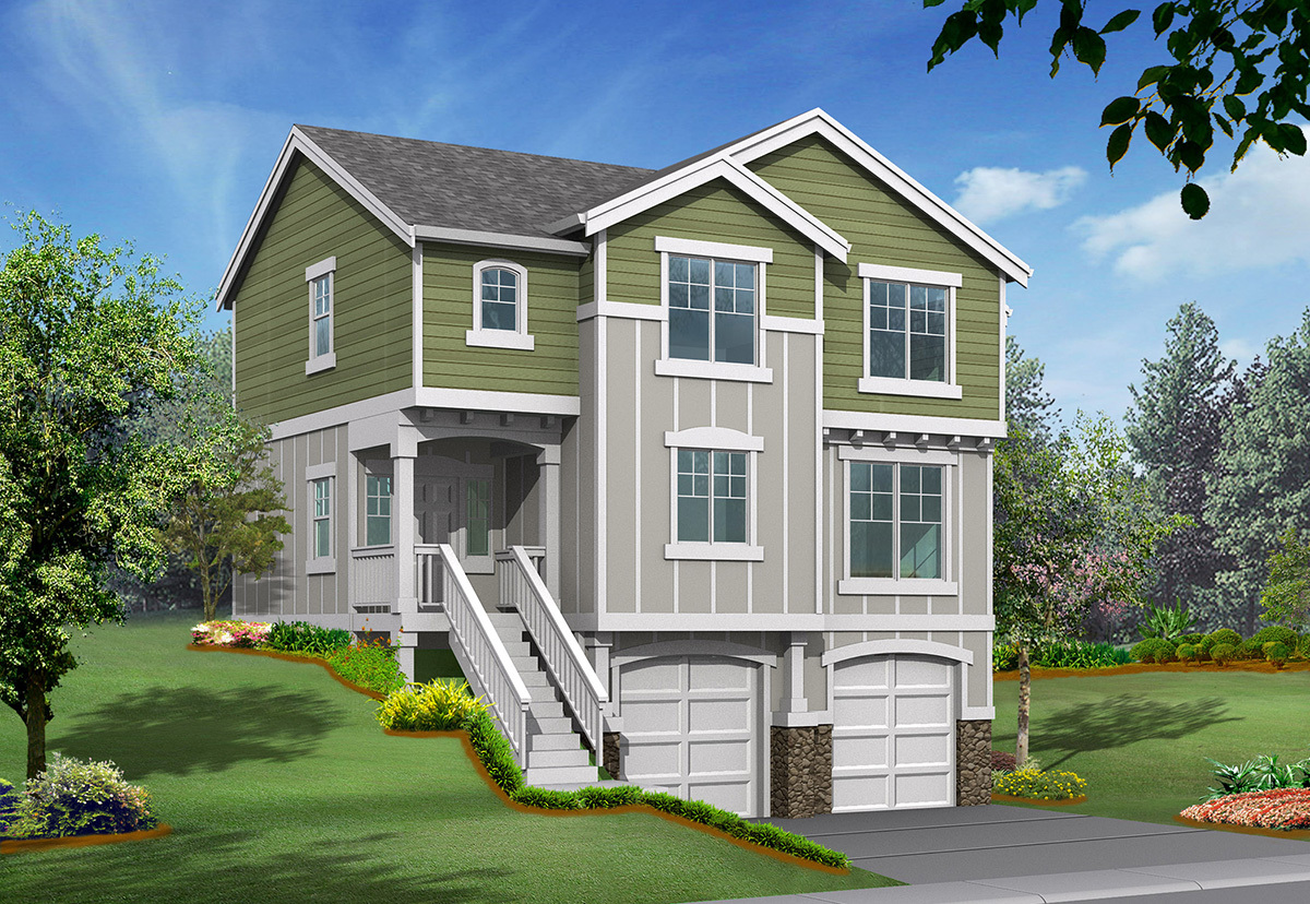 Sloping lot house plan with options 23004jd 2nd floor for Building a garage on a sloped lot
