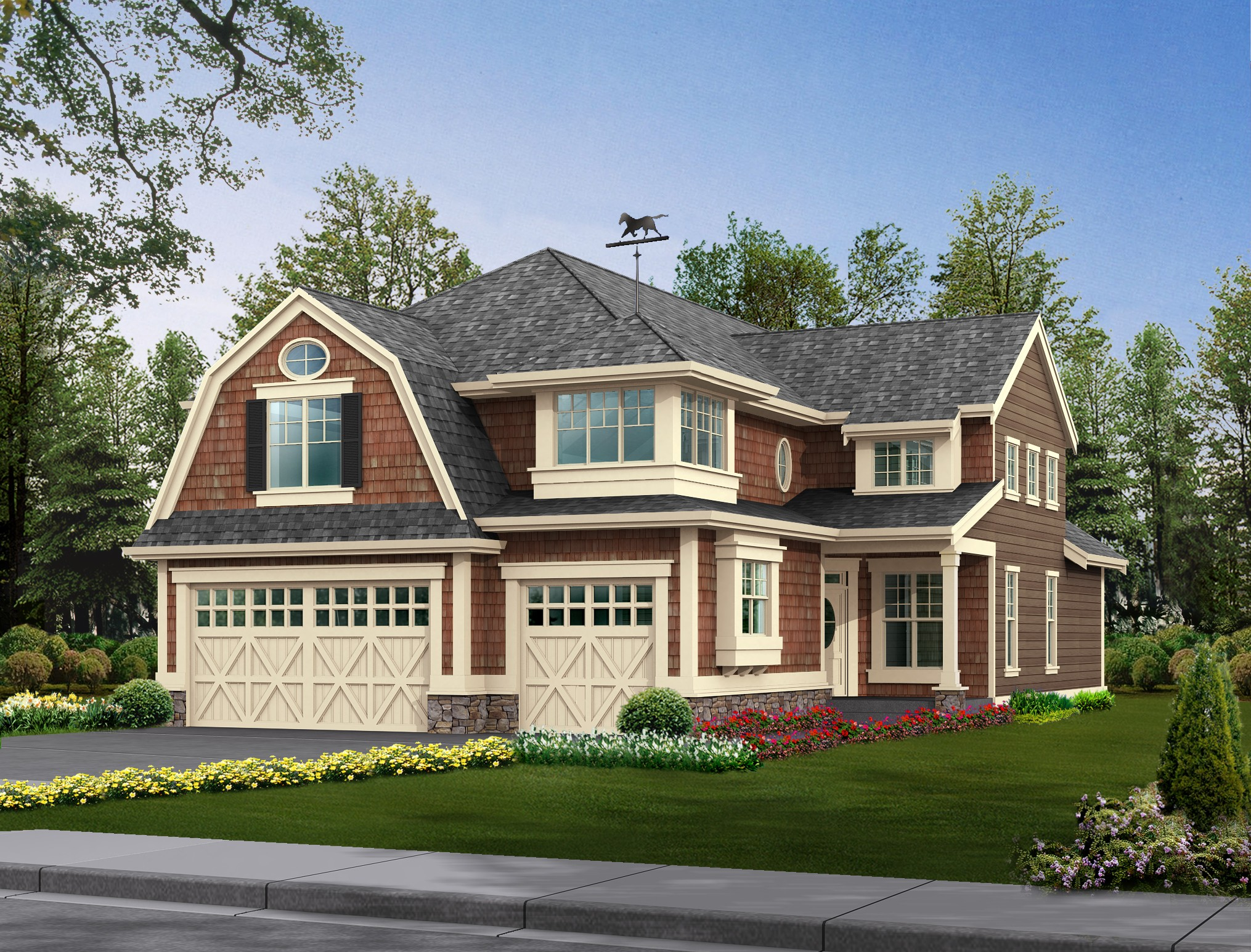 Gambrel roof and tons of natural light 2302jd 2nd for Adhouse plans