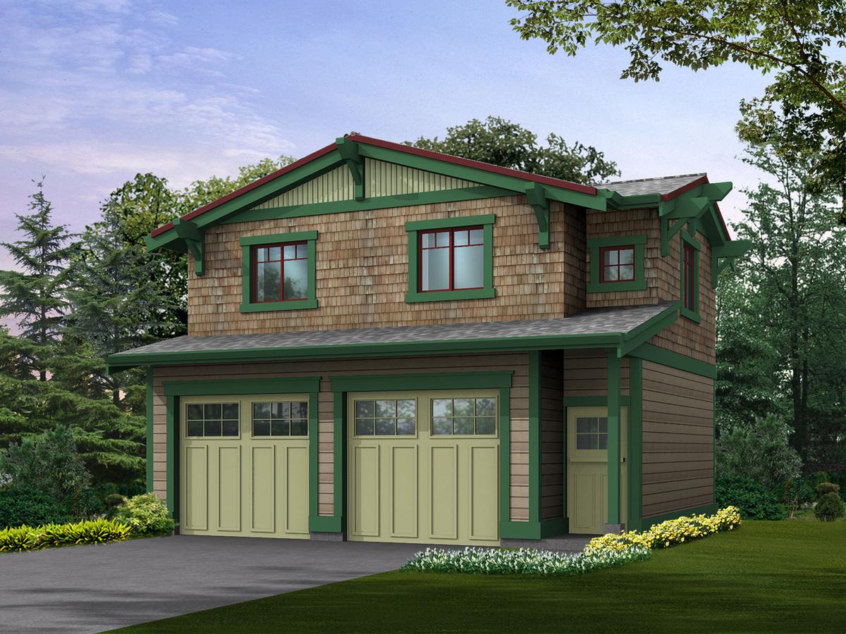 Craftsman garage with studio above 23065jd for Craftsman garage plans