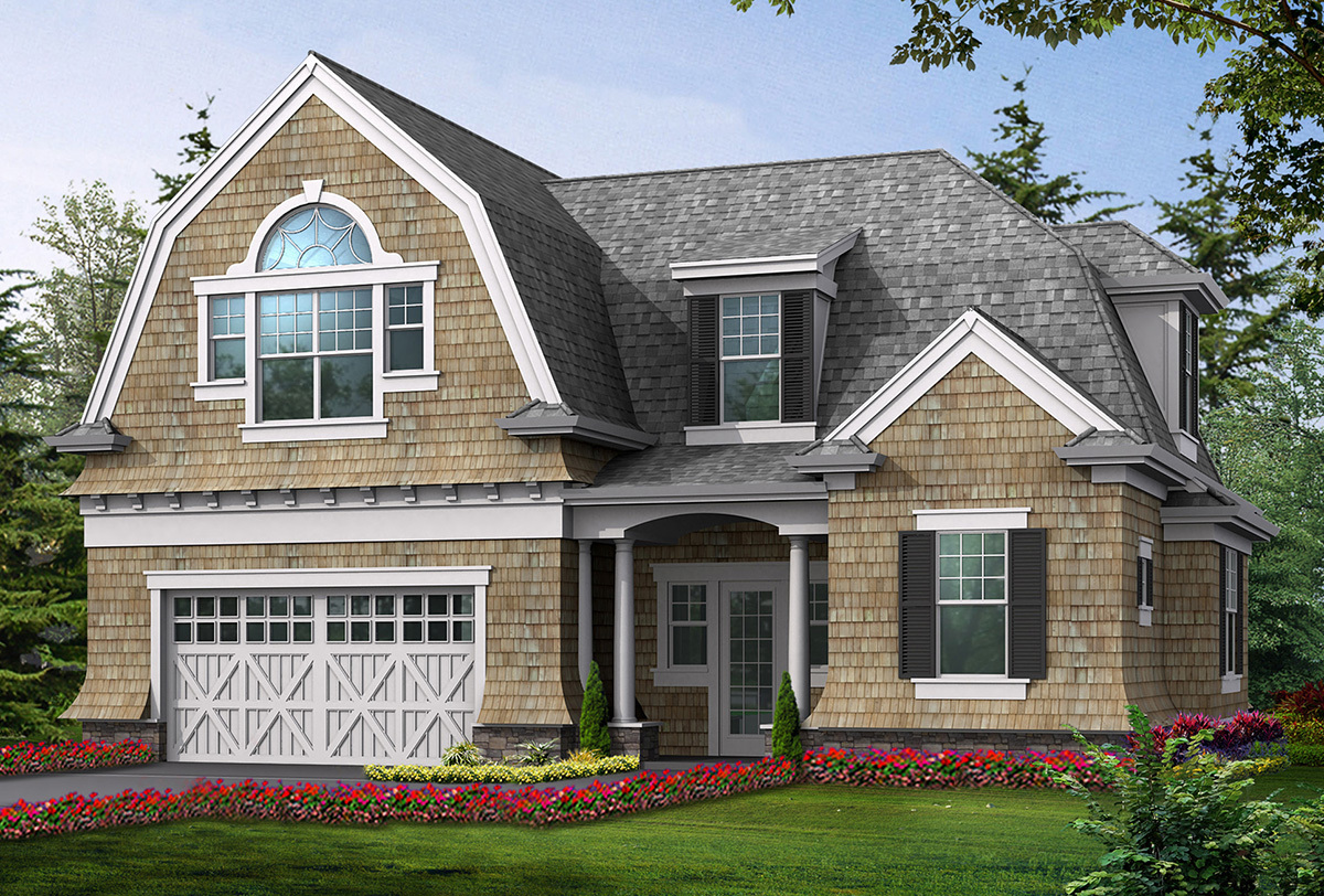 Cottage like garage with living space above 23066jd for 2 car garage with living space above plans