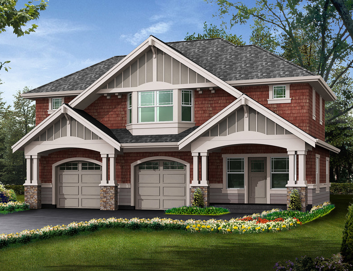 Detached garage with bonus space galore 23067jd for Farmhouse plans with detached garage