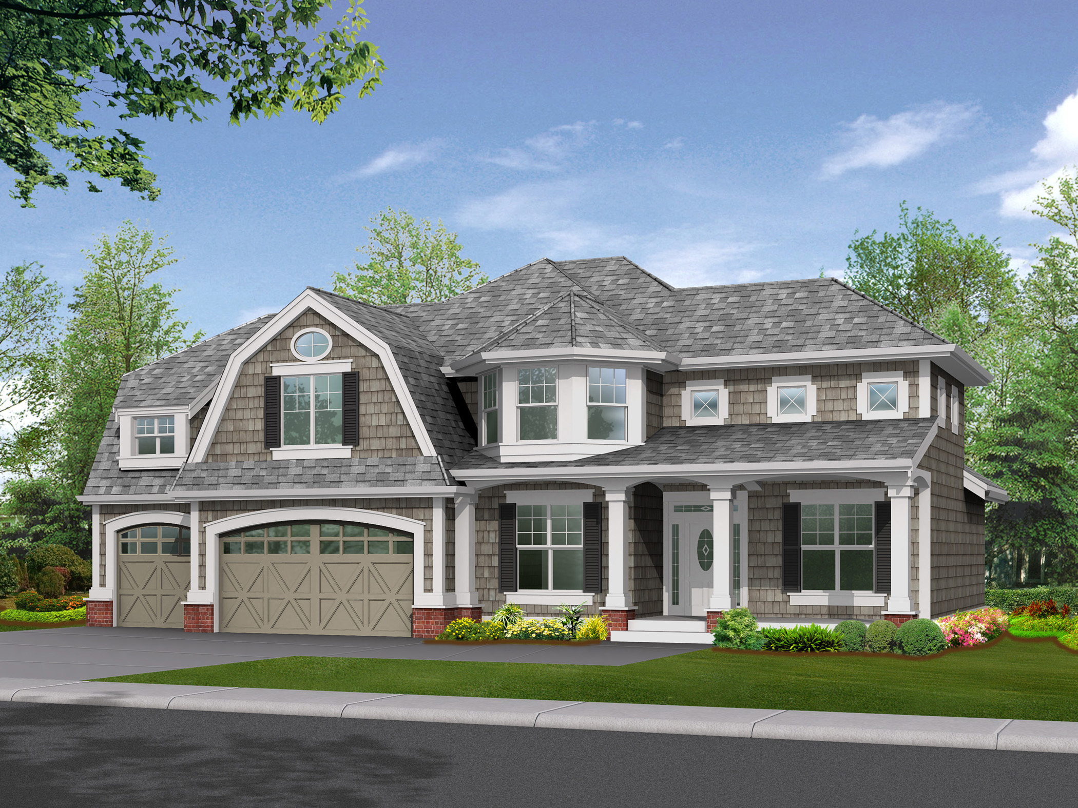 Stately Shingle Style Home Plan With Options