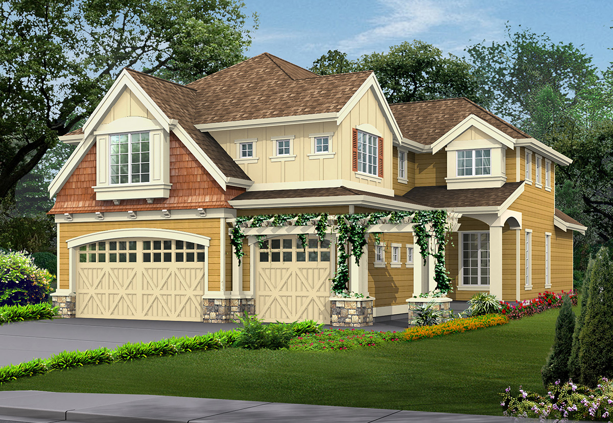 Eclectic Craftsman House Plan With Angled Foyer 23089jd