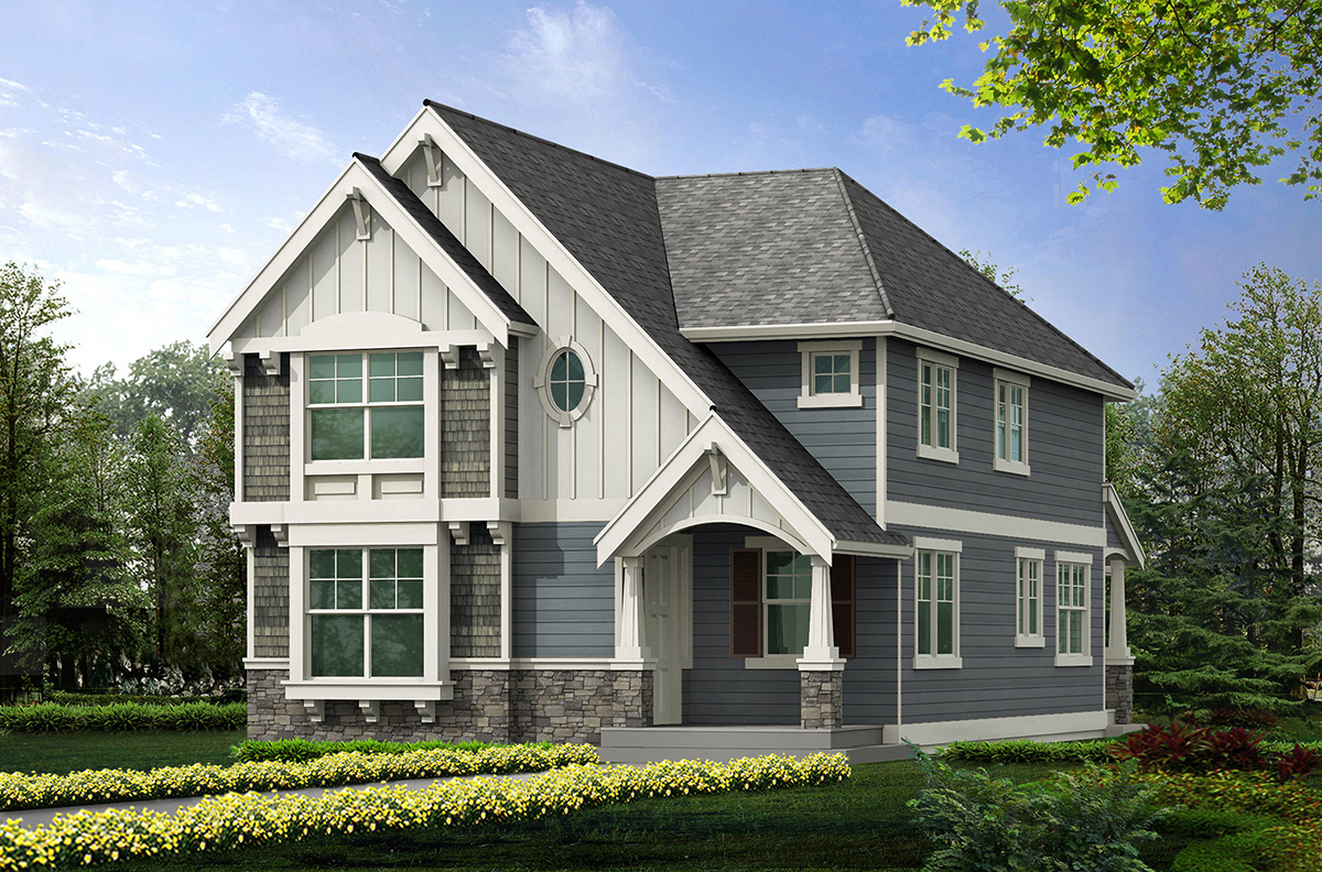 Narrow lot home plan with options 23104jd for Narrow lot house plans with front entry garage