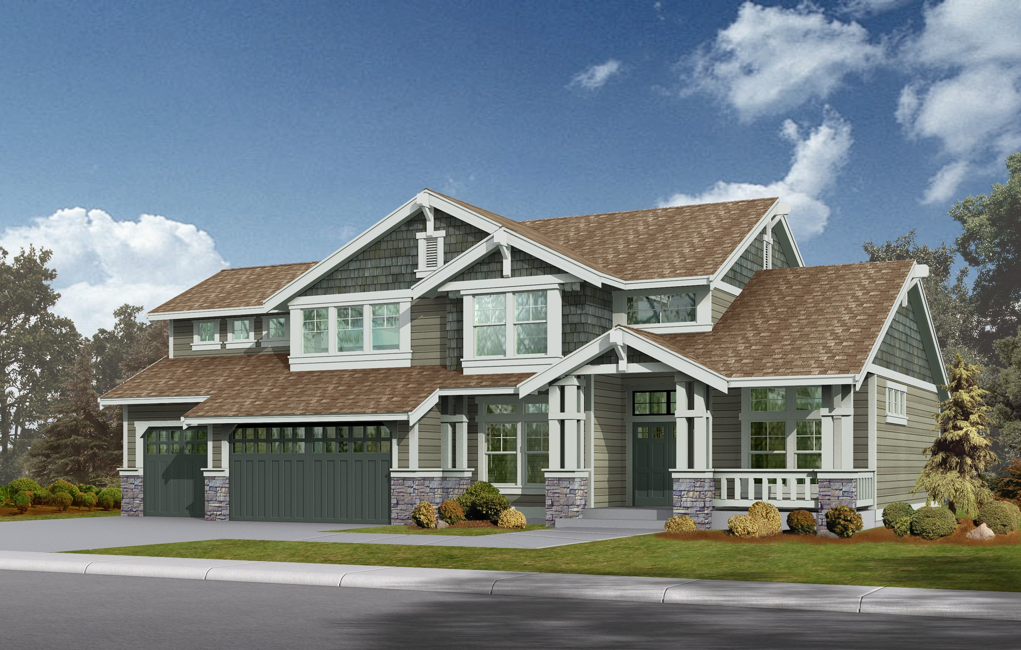 Northwest craftsman home plan 2311jd 2nd floor master for Nw home design