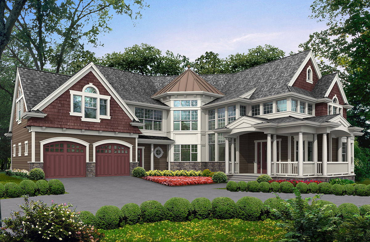Unique floor plan with central turret 23183jd for House plans with turrets