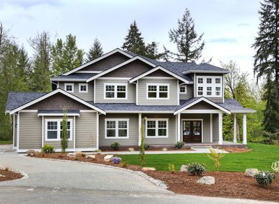 Substantial Columns and Trim Create Bold Facade - 23188JD thumb - 01