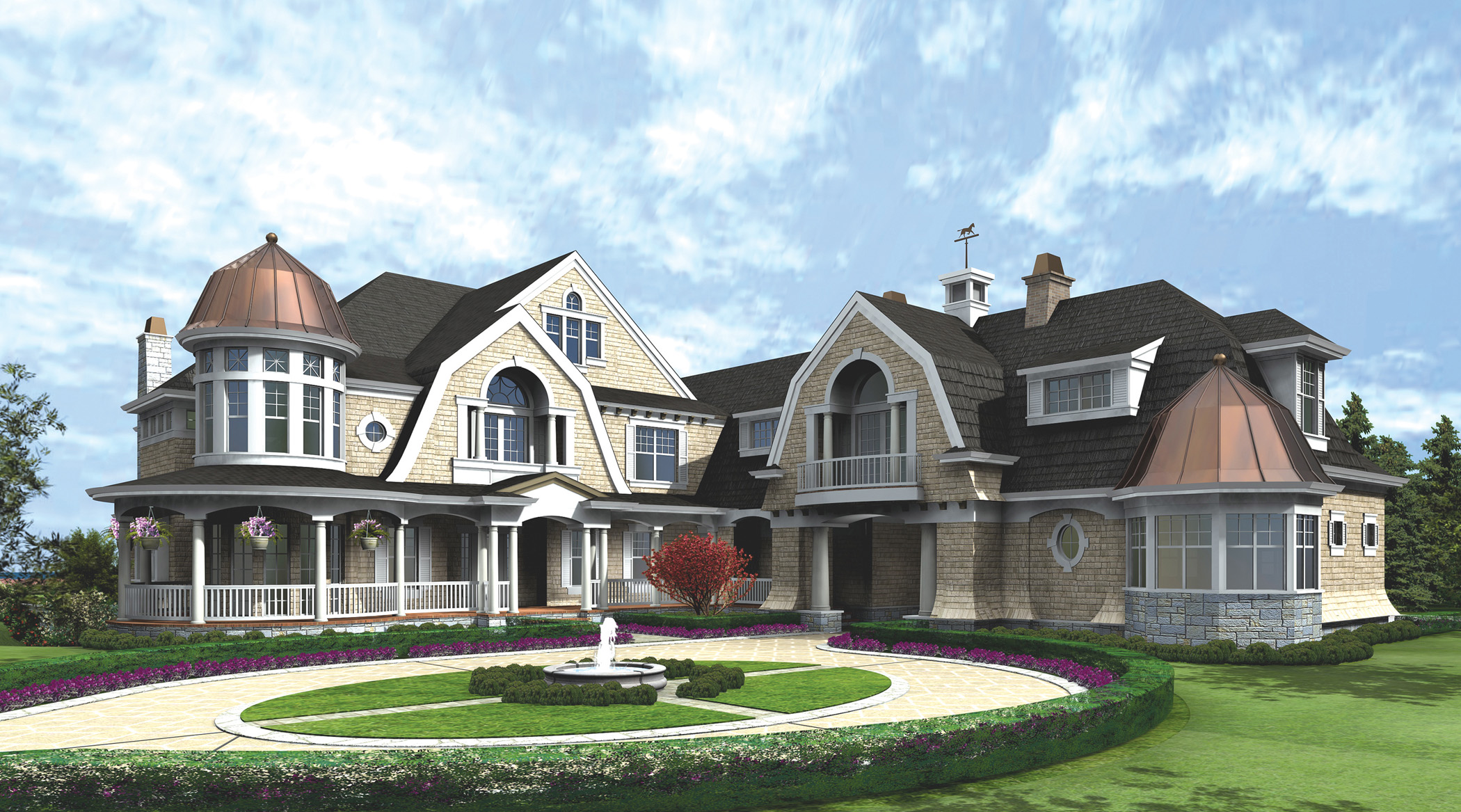 Spectacular hampton style estate 23220jd architectural for Manor farm house plan