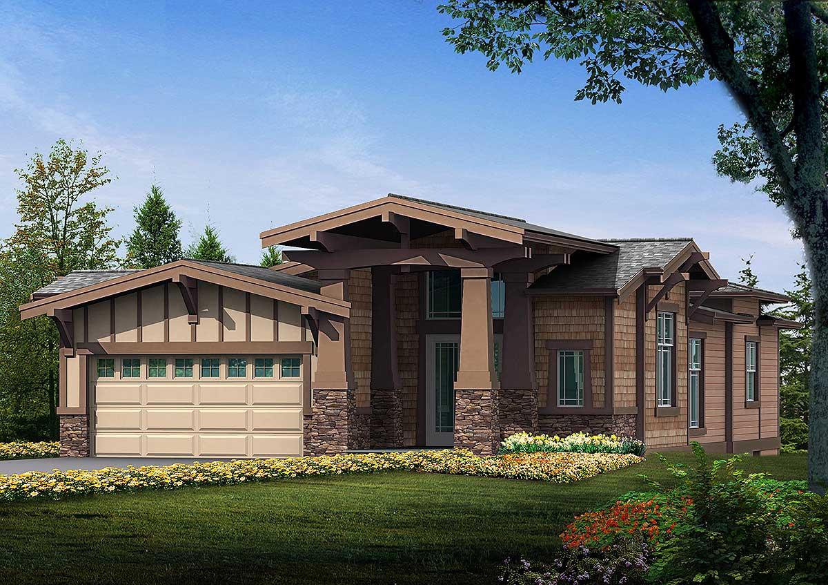 Modern twist on prairie style home 23240jd for Eplans prairie house plan
