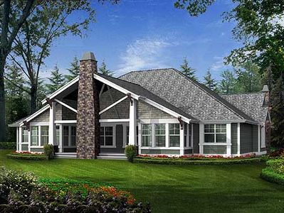 Modern rambler with upstairs bonus room 23241jd for Rambler house plans with bonus room