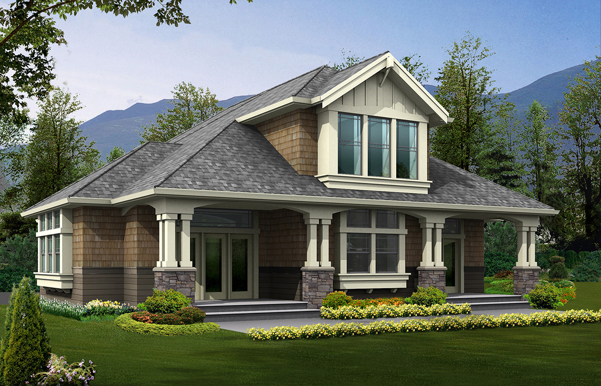 Arts And Crafts Home Plans rv garage plan with living quarters - 23243jd | architectural