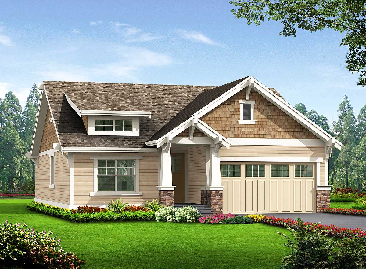 Simple craftsman cottage with options 23259jd Simple bungalow house plans