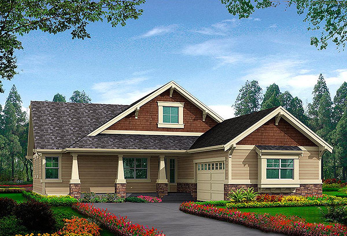 One level craftsman home plan 23261jd architectural for Craftsman log home plans