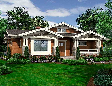 Vaulted One Story Bungalow 23264jd 1st Floor Master: corner lot home designs