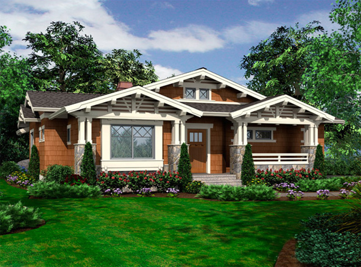 Vaulted one story bungalow 23264jd architectural for 1 story bungalow house plans