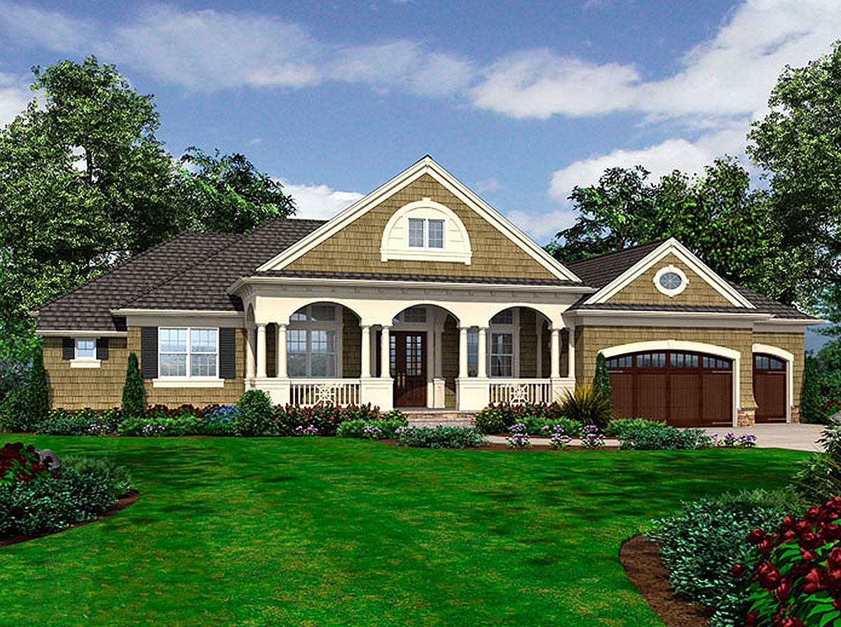 Triple arched welcome 23268jd architectural designs for Architecturaldesigns com house plan 56364sm asp