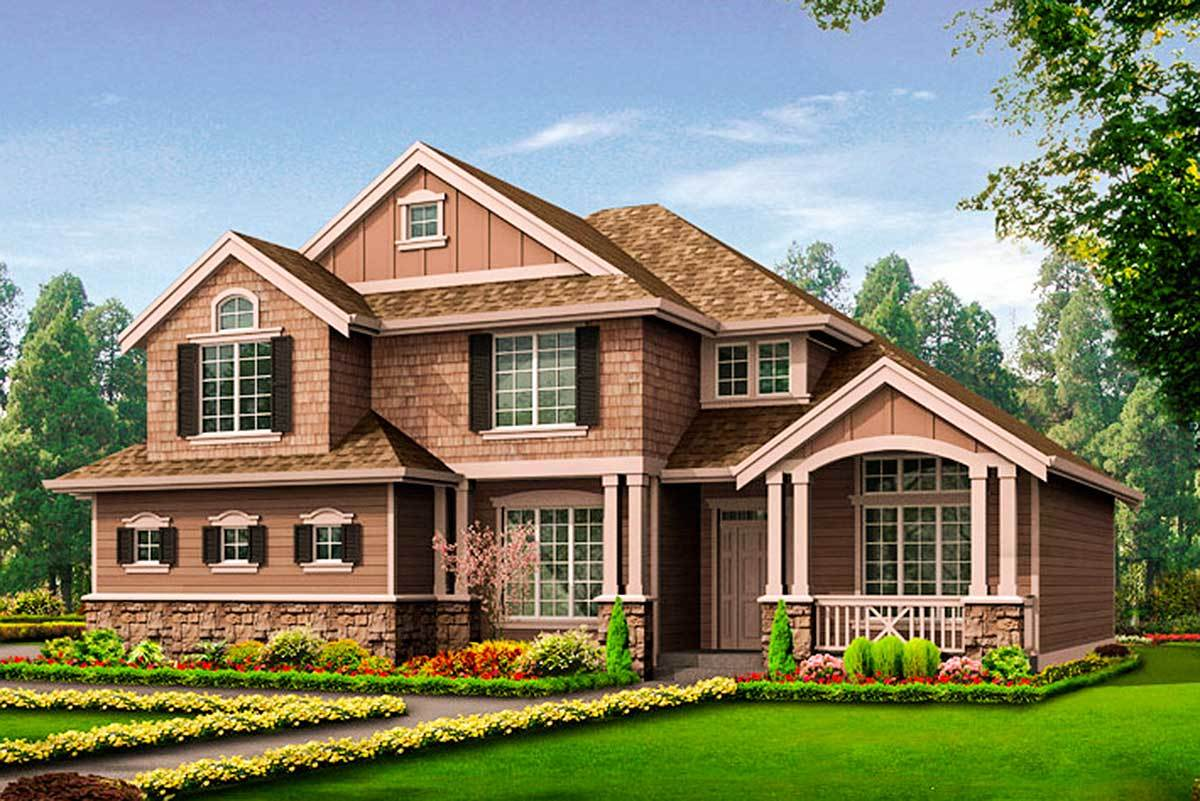 Craftsman house plan with side load garage 23273jd for Side load garage house plans