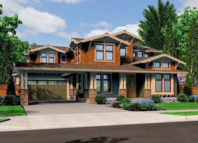 Unique craftsman with central patio 23274jd for Unique craftsman house plans