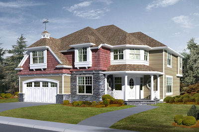 Beautiful 4 Bed Shingle Style House Plan   23344JD Thumb   45