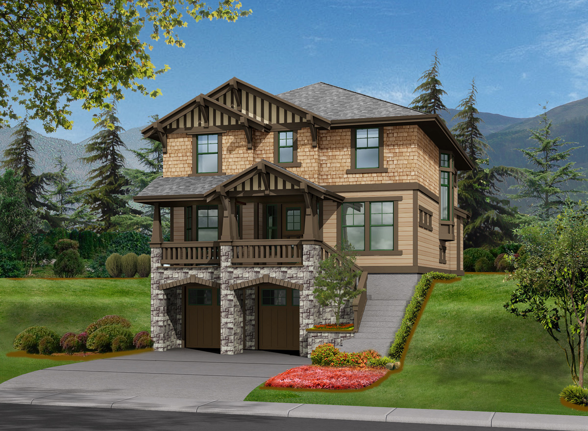 3 Bed House Plan For Front Sloping Lot 23372jd 2nd