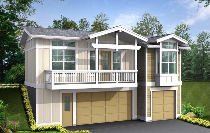 Contemporary carriage house plan 23378jd 1st floor for Home over garage plans