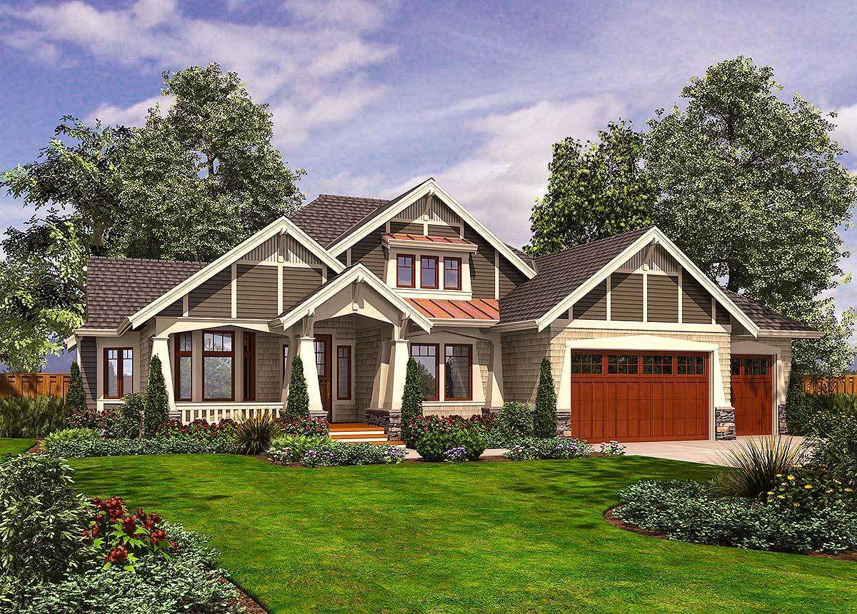 Rambler with 3 car garage 23382jd architectural for Front garage house plans