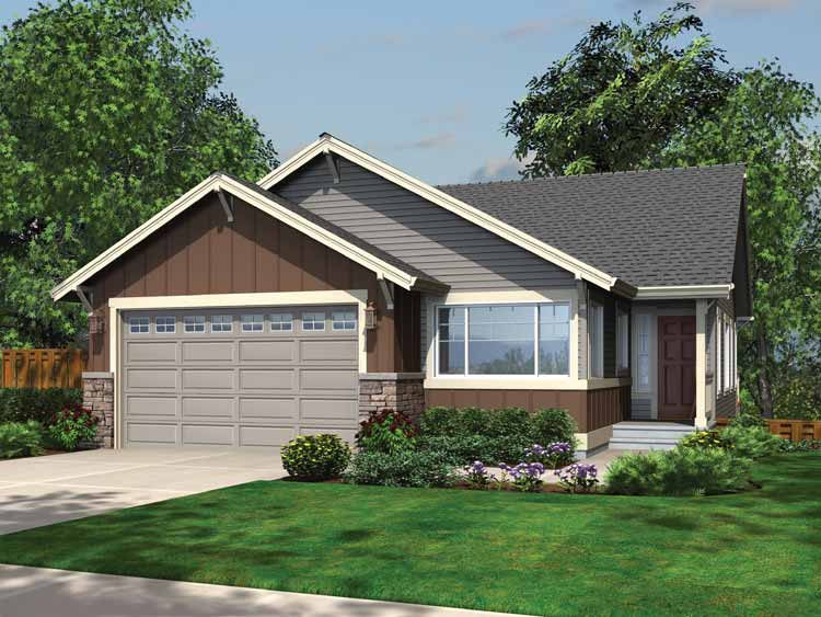 Narrow lot home plan with lower level 23390jd for Shallow lot ranch house plans